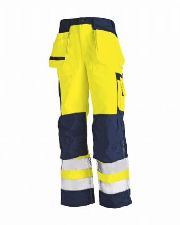 Blaklader 1533 High Visibility Trousers (Yellow/Navy Blue)